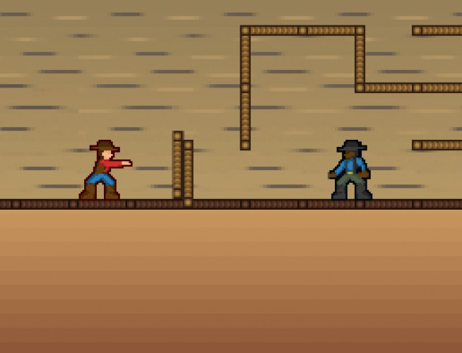 screenshot of two cowboys in Kevin Overalls game this room aint big enough for the two of us