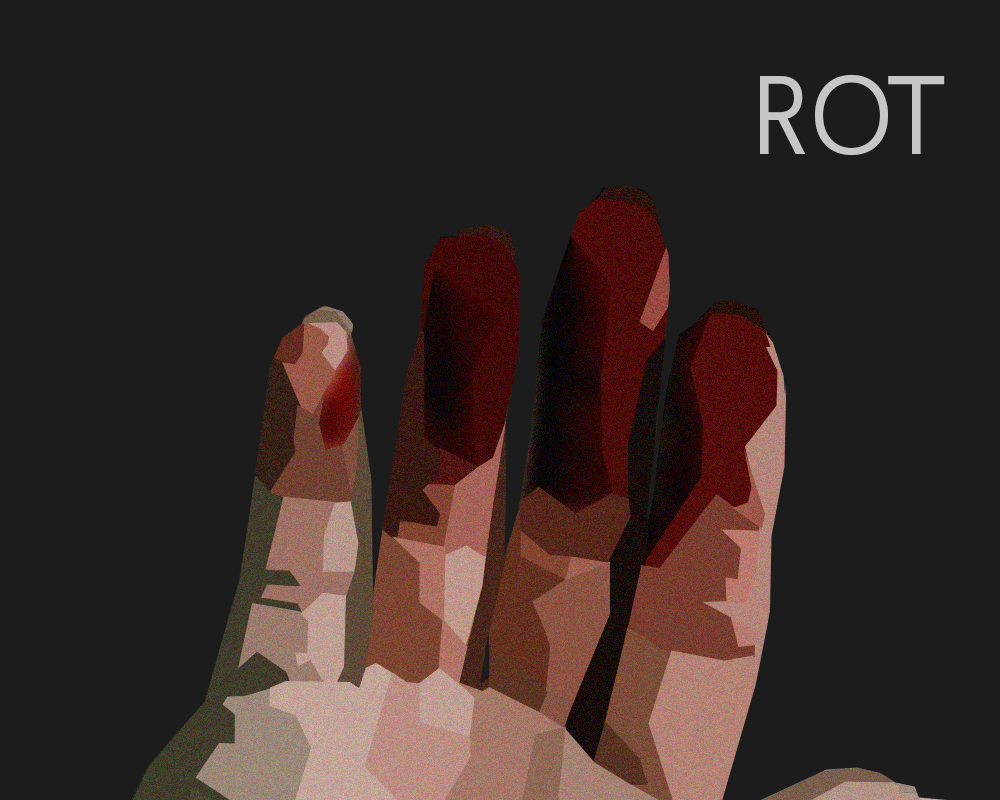 bloodied hand and the word rot