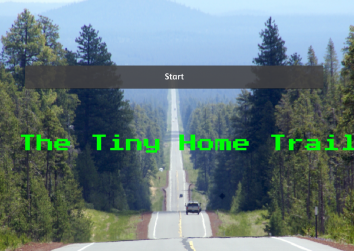 "A long highway stretches into the distance with text across the front that reads ""the tiny home trail"""